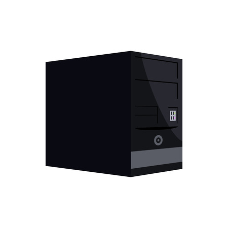 power supply unit: Black computer system unit icon in cartoon style on a white background Illustration