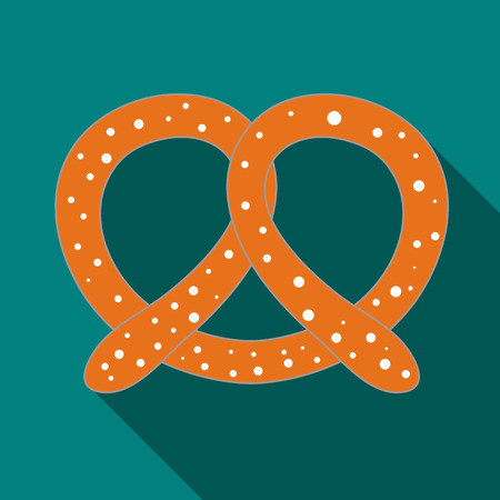 crusty: Pretzel icon in flat style on a turquoise background Illustration