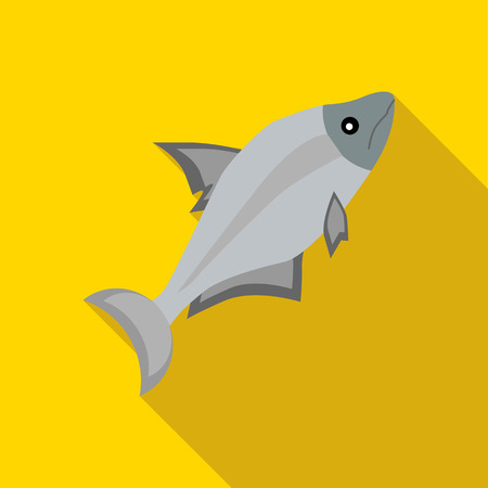 Fish icon in flat style on a yellow background