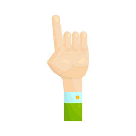 forefinger: Forefinger up gesture icon in cartoon style on a white background Illustration