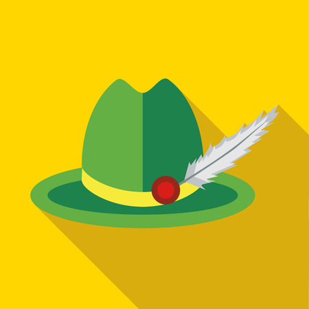 trachten: Green hat with a feather icon in flat style on a yellow background Illustration