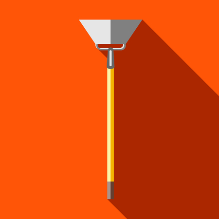 labranza: Hoe, digging tool icon in flat style on a orange background Vectores
