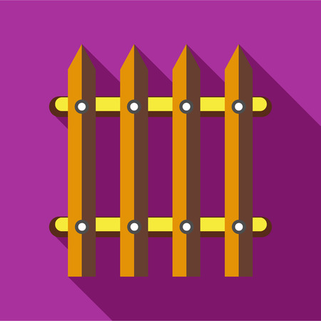 Wooden fence icon in flat style on a fuchsia background