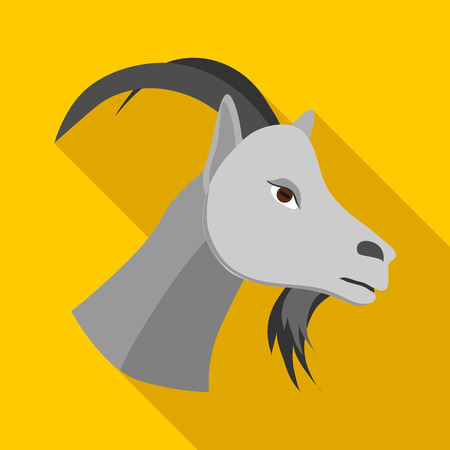 pastoral: Head of goat icon in flat style on a yellow background