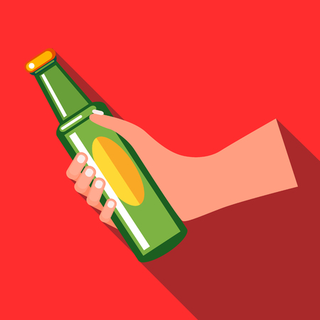 green beer bottle: Hand holding a green beer bottle icon in flat style on a red background Illustration