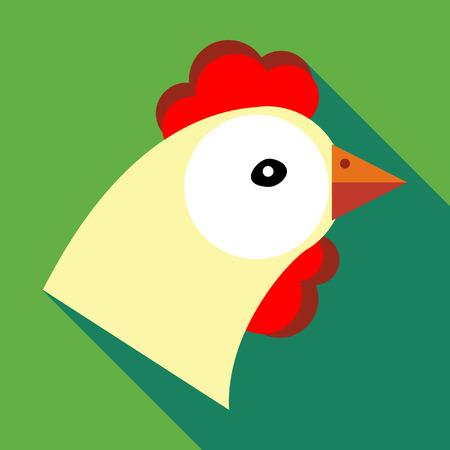 fertility emblem: Hen icon in flat style on a green background Illustration