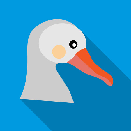 webbed: White goose icon in flat style on a sky blue background
