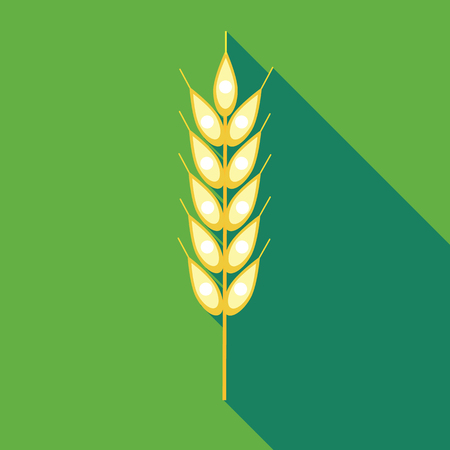 Ear of of wheat icon in flat style on a green background