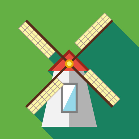 farmstead: Windmill icon in flat style on a green background