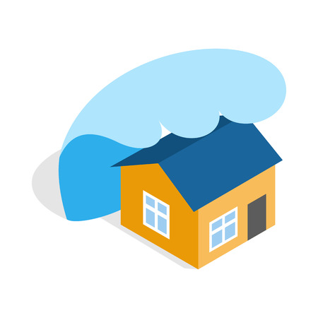 extreme science: Big wave of tsunami over the house icon in isometric 3d style on a white background