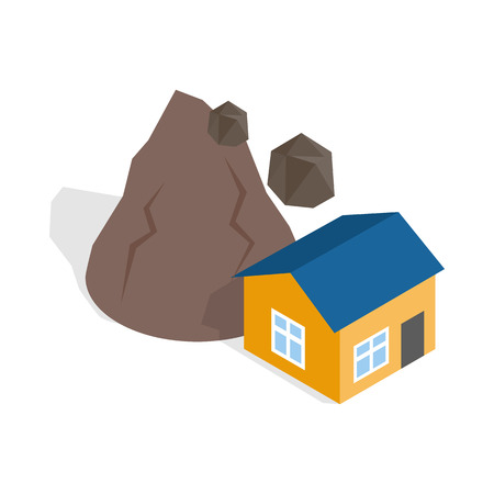 rockfall: Rockfall destroys house icon in isometric 3d style on a white background