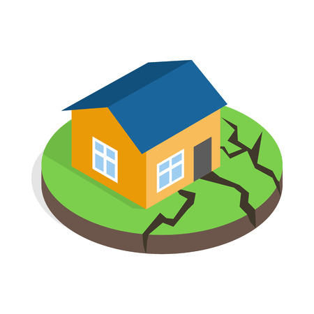House after an earthquake icon in isometric 3d style on a white background 矢量图像