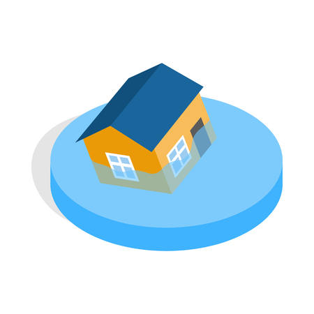 mischief: House sinking in a water icon in isometric 3d style on a white background