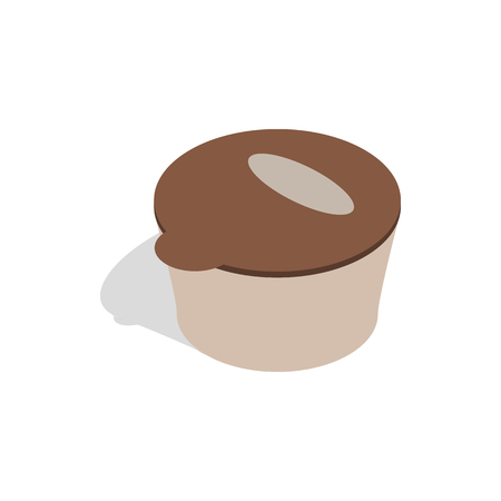 food storage: Brown plastic container for food storage icon in isometric 3d style on a white background