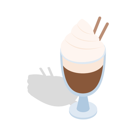 hot coffees: Latte coffee with cinnamon stick icon in isometric 3d style on a white background Illustration