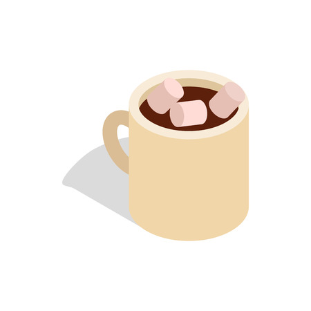 marshmallows: Hot chocolate with marshmallows in a ceramic cup icon in isometric 3d style on a white background Illustration