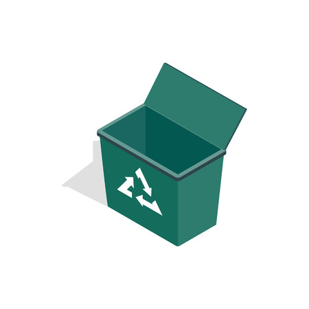 garbage dump: Open garbage container with recycling sign icon in isometric 3d style on a white background