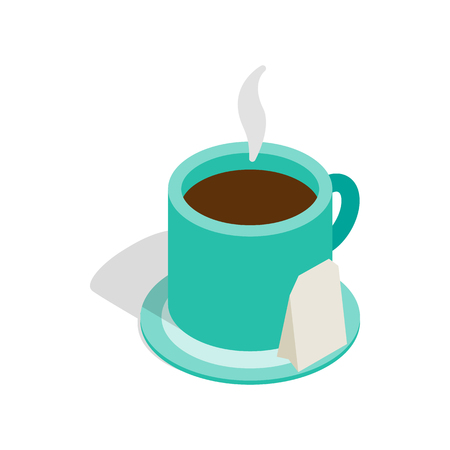 hot coffee: Turquoise cup of tea with teabag icon in isometric 3d style on a white background