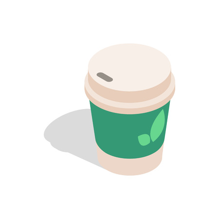take out: Take out tea cup icon in isometric 3d style on a white background