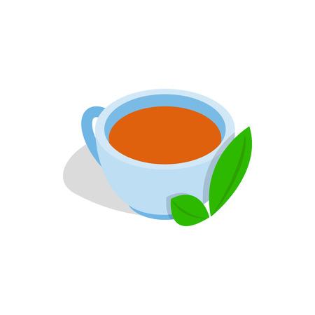 mint leaf: Cup of tea with mint leaf icon in isometric 3d style on a white background Illustration