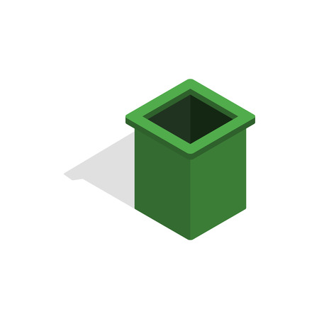 Green trash bin icon in isometric 3d style on a white background