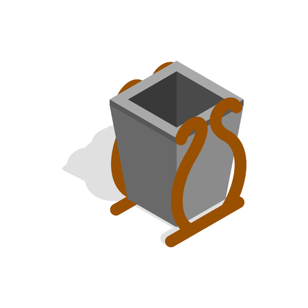 litter bin: Gray litter bin icon in isometric 3d style on a white background
