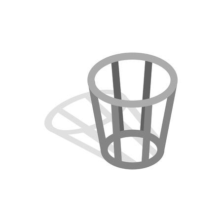 cesto basura: icono de metal cesta de la basura en estilo isométrica 3d sobre un fondo blanco Vectores