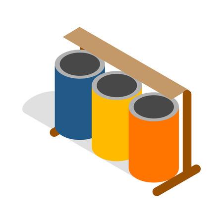 botes de basura: Tres contenedores de basura selectiva de colores icono en estilo isométrico 3d sobre un fondo blanco