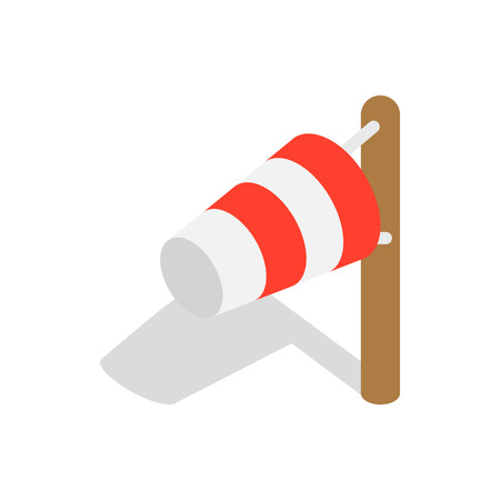 meteorology: Windsock icon in isometric 3d style on a white background Illustration