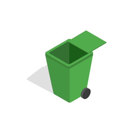segregate: Open green garbage container icon in isometric 3d style on a white background