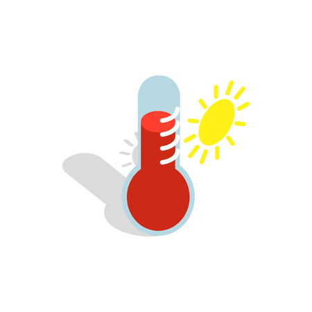 high scale: Thermometer indicates extremely high temperature icon in isometric 3d style on a white background Illustration