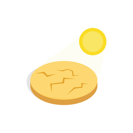 drought: Drought cracked desert landscape icon in isometric 3d style on a white background