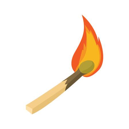 ignition: Burning match icon in cartoon style isolated on white background. Ignition symbol