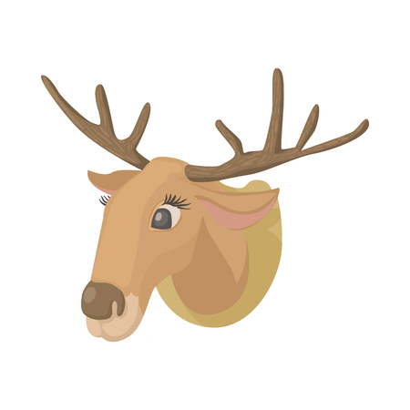horny: Deer head icon in cartoon style isolated on white background. Hunting equipment symbol Illustration