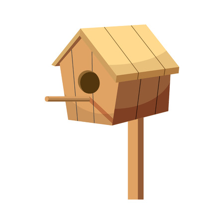 chalet: Birdhouse icon in cartoon style isolated on white background. Gardening and construction symbol