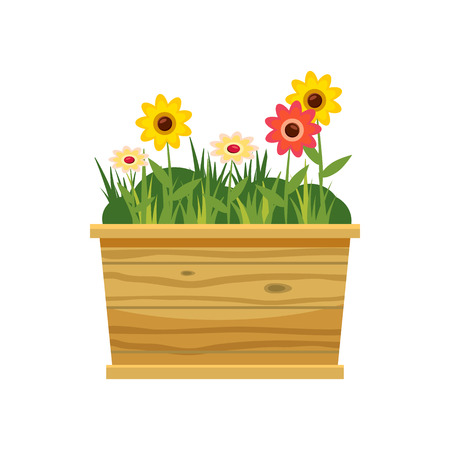 flower bed: Flower bed icon in cartoon style isolated on white background. Plants symbol