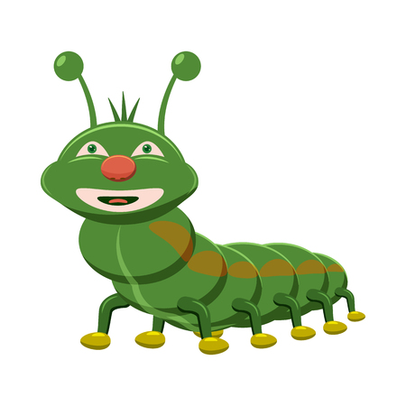 cartoon larva: Caterpillar icon in cartoon style isolated on white background. Insects symbol