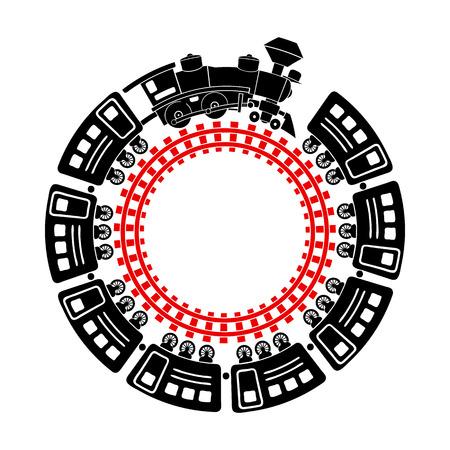 Pociąg i okrągła ikona kolejowa w prostym stylu na białym tle Ilustracje wektorowe
