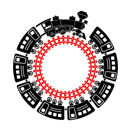 Trein en ronde pictogram spoorweg in eenvoudige stijl op een witte achtergrond Vector Illustratie
