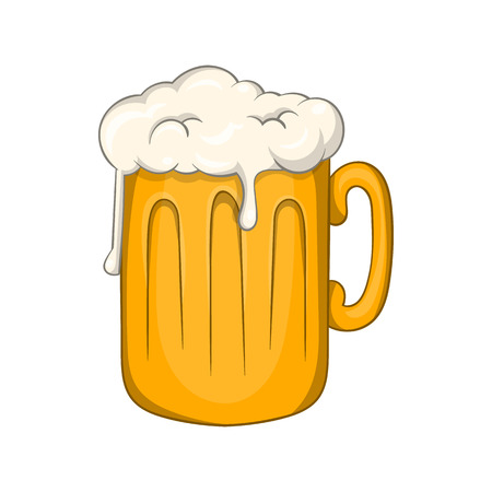 intoxication: Mug with beer icon in cartoon style isolated on white background. Alcoholic beverages symbol
