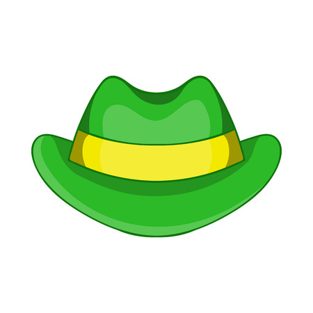 top hat cartoon: Green hat icon in cartoon style isolated on white background. Headdress symbol