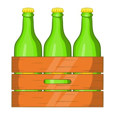 alcoholic beverage: Box of beer icon in cartoon style isolated on white background. Alcoholic beverage symbol Illustration
