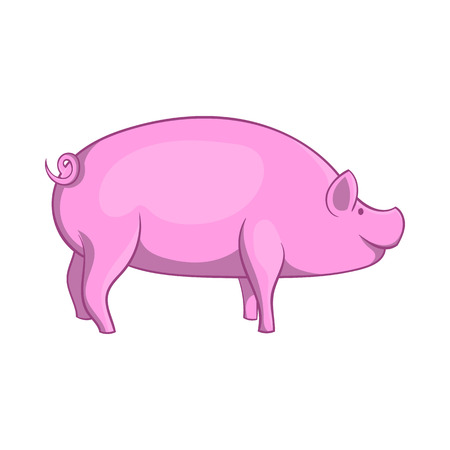 grunt: Pig icon in cartoon style isolated on white background. Animals symbol