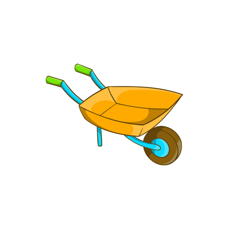 sod: Garden wheelbarrow icon in cartoon style isolated on white background. Territory cleaning symbol