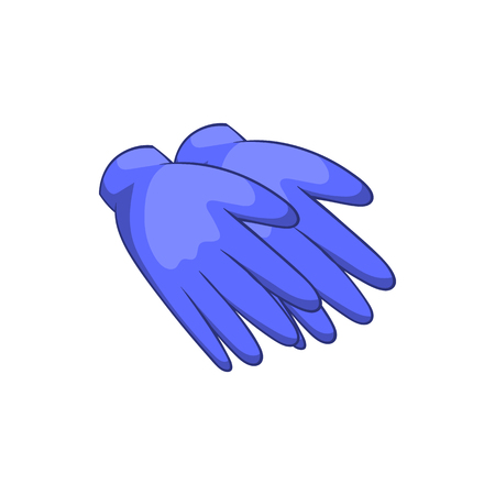 rubber gloves: Rubber gloves icon in cartoon style isolated on white background. Hand protection symbol Illustration