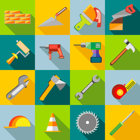 Industrial workers: Construction icons set in flat style vector illustration