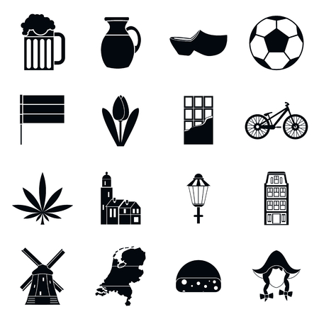 Netherlands icons set in simple style isolated vector illustration