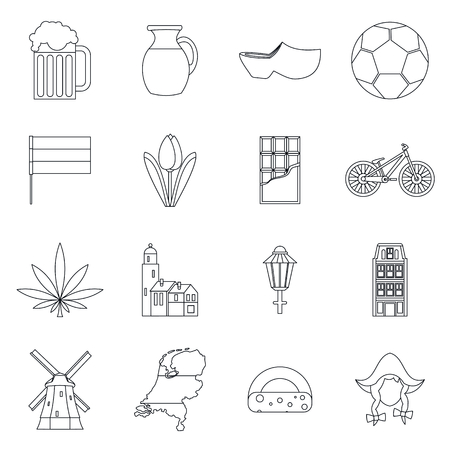 dutch landmark: Netherlands icons set in outline style isolated vector illustration