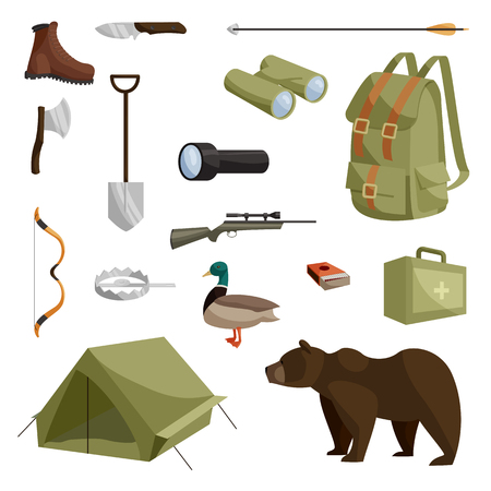 animals hunting: Hunting icons set in cartoon style isolated vector illustration