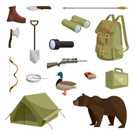 fusil de chasse: icônes de chasse définies dans le vecteur isolé style cartoon illustration